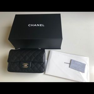 Chanel Black Caviar Rectangular Mini Flap